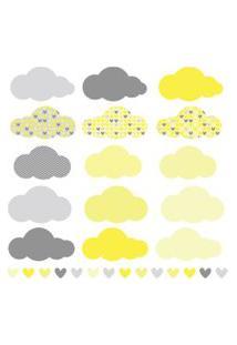 Adesivo De Parede Chuva De Amor Clássico Amarelo E Cinza