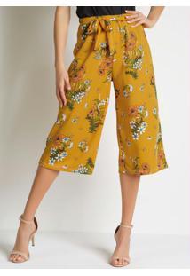 Calça Floral Amarelo Com Faixa Fixa