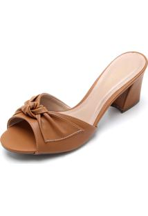 Tamanco Dafiti Shoes Laço Caramelo