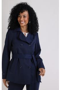 Casaco Trench Coat Feminino Transpassado Com Faixa Para Amarrar Azul Marinho