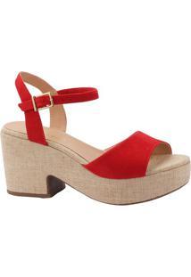 Sandália Meia Pata Acamurçada- Vermelha & Bege Clarovia Uno