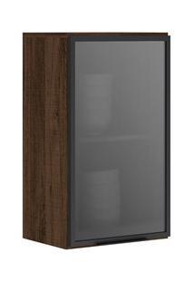 Armário Aéreo Mdf 40Cm 1 Porta Vidro Kali Premium 3046.4 Amêndoa Rústi