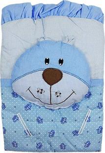 Capa De Carrinho Com Travesseiro Bruna Baby Coroa Azul