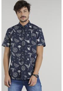 Camisa Masculina Estampada De Coqueiros Manga Curta Azul Marinho