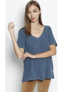 Camiseta Em Flamê Com Bolso - Azul Escurocanal