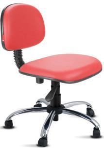 Cadeira Secretária Giratória Cromada Courvin Vermelha