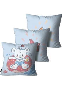 Kit Mdecore Com 3 Capas Para Almofada Infantil Urso Azul 45X45Cm