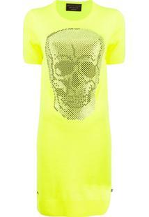 Philipp Plein Vestido De Tricô Com Aplicação De Caveira - Amarelo
