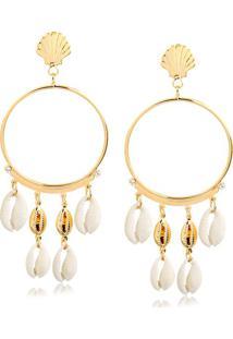 Brinco De Argola Com Quatro Búzios Brancos E Dois Dourados Folheado Em Ouro 18K - 2180000001813