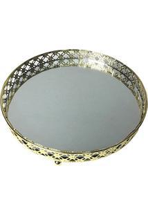 Bandeja Metal Com Espelho Round X Edge, Urban, Dourado, Pequeno