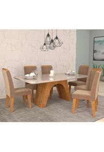 Conjunto De Mesa Clara Para Sala De Jantar Com 6 Cadeiras Taís Moldura -Cimol - Savana / Offwhite / Pluma