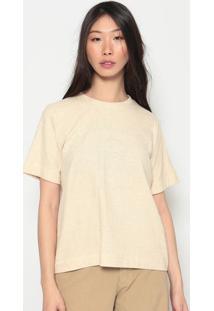 Camiseta Dupla Face Com Linho-Bege & Pretaosklen