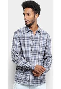 Camisa Xadrez Manga Longa Ellus Storm Wool Touch Masculina - Masculino-Azul