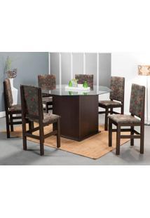 Conjunto De Mesa Com 6 Cadeiras Luiz Tabaco E Floral Escuro