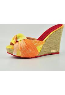 Tamanco Anabela Antonia Dominguez Tie Dye - Multicolorido - Feminino - Tecido - Dafiti