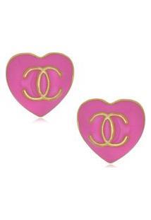 Brinco Le Diamond Coração Resinado Rosa