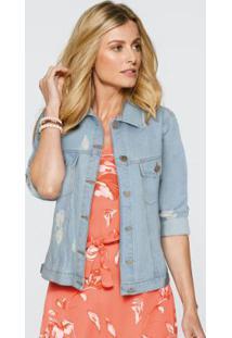 Jaqueta Jeans Com Puídos Cropped Azul Claro