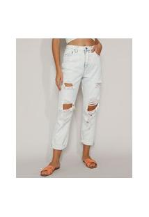 Calça Jeans Feminina Mom Cropped Cintura Super Alta Destroyed Azul Claro