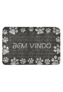 Capacho Carpet Bem Vindo Com Patinhas Brancas Cinza Único Love Decor