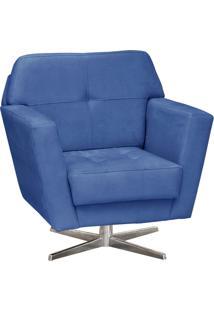 Poltrona Decorativa D'Rossi Esmeralda Suede Azul Royal Com Base Giratória Em Aço Cromado