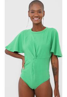 Body Colcci Torã§Ã£O Verde - Verde - Feminino - Algodã£O - Dafiti