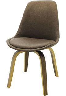 Cadeira Lis Eames Revestida Tecido Marrom Base Madeira Mescla - 53304 Sun House
