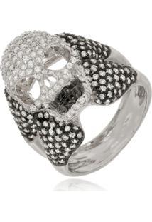 Anel Le Diamond Caveira Com Zircônia Ródio Branco - Kanui