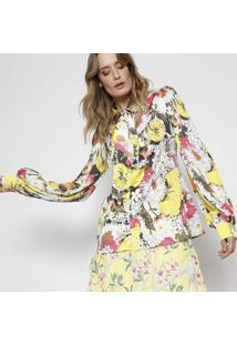 Camisa Floral Com Amarraã§Ã£O - Amarela & Branca - Alfalfreda