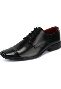 Sapato Social Rebento Com Cadarço Bico Fino Preto