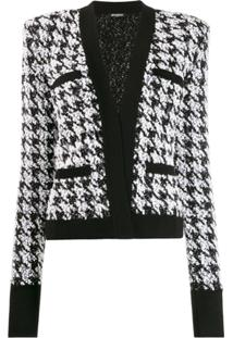 Balmain Houndstooth Tweed Jacket - Preto
