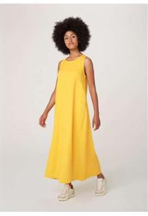 Vestido Midi Sem Manga Evasê Em Tecido Amarelo