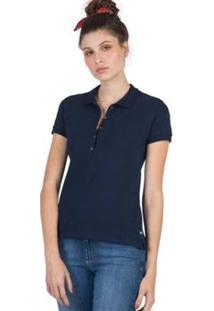 Camisa Polo Básica Taco Feminina - Feminino-Azul
