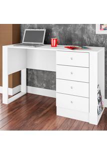 Mesa Para Computador Com 4 Gavetas E 1 Prateleira Londres Es1200 - Art In Móveis - Branco