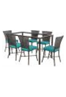 Jogo De Jantar 6 Cadeiras Turquia Tabaco A20 E 1 Mesa Retangular Sem Tampo Ideal Para Área Externa Coberta