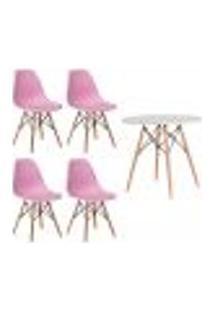 Conjunto 4 Cadeiras Eiffel Eames Rosa Claro + 1 Mesa Eames 80Cm Branca Base Madeira Sala Cozinha