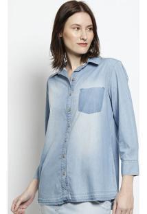 Camisa Jeans Com Recortes - Azulscalon