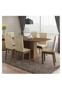 Conjunto Sala De Jantar Susan Madesa Mesa Tampo De Madeira Com 6 Cadeiras Marrom