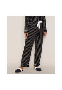 Calça De Pijama Feminina Listrada Com Vivo Contrastante E Laço Preta