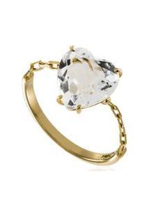 Anel Chain Heart Ouro Amarelo - 17