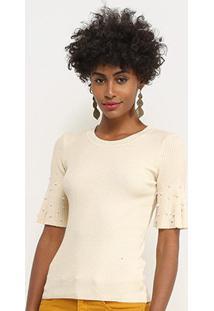 Blusa Lily Fashion Tricot Com Pérolas Feminina - Feminino-Bege