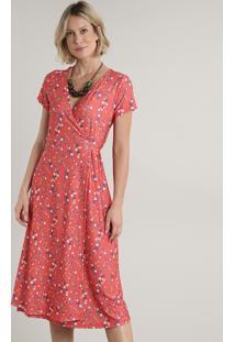 Vestido Feminino Midi Envelope Estampado Floral Manga Curta Coral