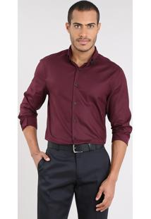 Camisa Masculina Comfort Manga Longa Vinho