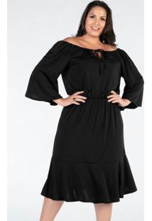 Vestido Plus Size Midi Preto Cigana