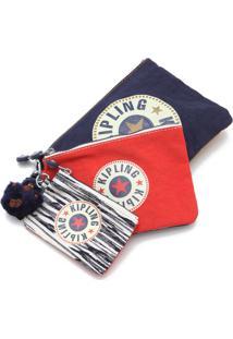 Necessaire Kipling I362517Z Active Azul/Vermelha