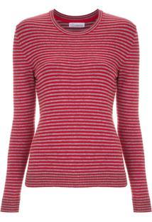 Nk Blusa De Tricô Listrada - Vermelho