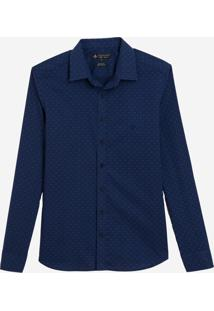 Camisa Dudalina Manga Longa Estampa Liberty Masculina (Azul Marinho, 2)