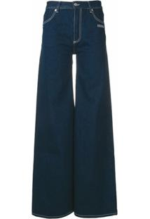 Off-White Flared Logo Jeans - Azul