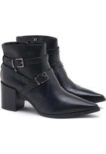 Ankle Boot Verofatto Ariane Fivela Couro Preto