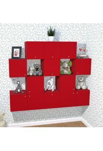 Nicho Cubo Com 1 Porta Tolix Kit Cubos Baby Bramov Móveis Vermelho