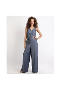 Macacão Jeans Feminino Pantalona Com Botões E Faixa Para Amarrar Azul